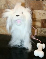 Puppy Walking Barking Long Hair White Dog Battery Operated WORKS $9.95