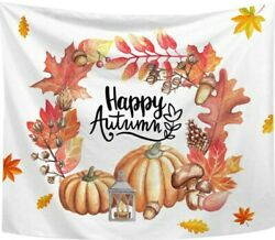 Autumn Maple Leaves Pumpkin Tapestry 59quot;x51quot; Wall Hanging Living Room Bedroom $14.95