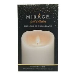 Mirage Gold Collection Wax Flameless 5 in Pillar Candle White NEW $24.99