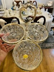 Leonard of Italy Crystal with Silver Plate 3 piece Candy Nut Dish $40.00