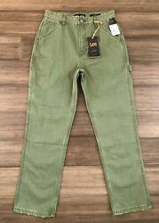 LEE Vintage Modern Women#x27;s Green Striped High Rise Dungaree Ankle Jeans Size 28 $25.95