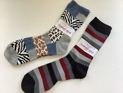 2 PAIRS WOMENS NOVELTY QUEEN SIZE SOCKS * CANDY STRIPES ANIMAL PRINT * NWL* $11.39