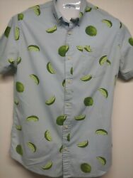 Urban Pipeline Large Mens Short Sleeve Button Down Blue W Limes. Cotton stretch $14.00