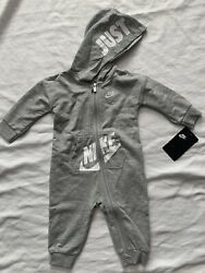 NEW Nike Baby Coverall Boys 9 Months Gray Full Zip Hooded Bodysuit Nike Outfit $25.25
