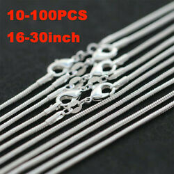 10 100PCS Wholesale 925 Sterling Solid Silver 1MM Snake Chain Necklace 16 30inch $5.29