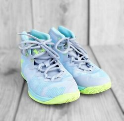 UA Under Armour Lightning 4 Basketball Shoes 1Y Girls High Top Gray Blue $21.00