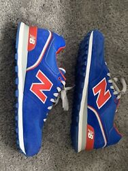 New Balance 574 Suede Blue Red rubbing Athletic Shoes Mens Size 13 $54.95