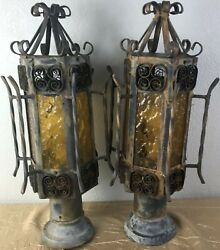 Pair Vintage Spanish Revival Gothic Iron Amber Glass Outdoor Post Lamp Light I $149.99
