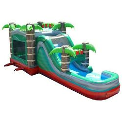 Mega Tropical Marble Commercial Inflatable Bounce House Water Slide With Blower $620.89