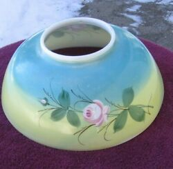 Antique Pretty Pink Rose Blue Yellow Background Parlor Lamp Glass Shade Stock ee $49.50