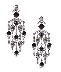 GIVENCHY Black Crystal Chandelier Earrings Hematite Tone 3 1 2quot; Drop NEW $68.00