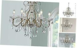 Antique Silver Vintage Candle Chandelier Crystal Lighting Fixture Lamp for $195.58