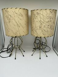 Vintage 1950#x27;s Atomic Era Small Table Lamps with Fiberglass Shades $295.00