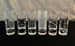 VINTAGE MID CENTURY MODERN Tall Etched Shot Glasses $34.95