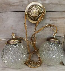 Vintage Hanging Double Swag Light Fixture Clear Cut Glass Globes Mid Century $85.00