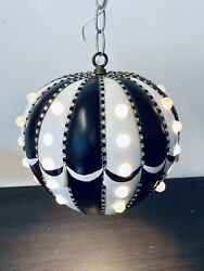 Mid Century Modern Hanging Black and White Globe Swag Lamp with Marbles $124.95