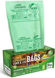 UNNI 100% Compostable Bags 30 33 Gallon 124 Liter 20 Count Extra Thick 1.1 M $23.99