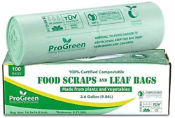 Progreen 100% Compostable Bags 2.6 Gallon Extra Thick 0.71 Mil 100 Count Smal $19.99