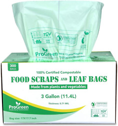 Progreen 100% Compostable Bags 3 Gallon Extra Thick 0.71 Mil 300 Count Small $17.99