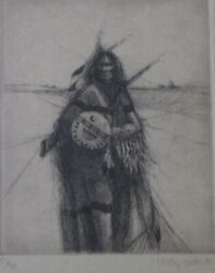 WESTERN and NATIVE AMERICAN ARTIST LARRY FODOR PLAINS INDIAN LITHOGRAPH $150.00
