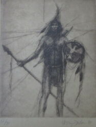 WESTERN and NATIVE AMERICAN ARTIST LARRY FODOR PLAINS INDIAN LITHOGRAPH 1980 $150.00
