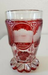 BEAUTIFUL ANTIQUE BOHEMIAN RUBY GLASS GOBLET SUPERB ETCHED $135.00