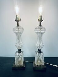 Pair of Vintage 24quot; Hollywood Regency Style Cut Glass and Brass Table Lamps $229.95