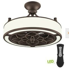 Home Decorators Collection Brette II 23 in. LED Indoor Outdoor Ceiling Fan with…