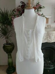 DKNY WHITE COTTON BLOUSE EMBROIDERY COVERED BUTTONS SIZE 2 VINTAGE TOP GBP 33.00