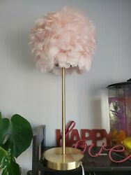 NEW RACHEL ZOE DESIGNER 25quot; PALE PINK FEATHER LAMP ON GOLD METAL BASE GORGEOUS $117.00
