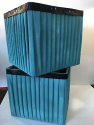 Set Of Square Blue Pleated Lamp Shades $12.99