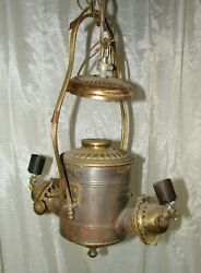 Antique The ANGLE Lamp Co NY Hanging Oil lamp Parts or Repair Electrified $49.99