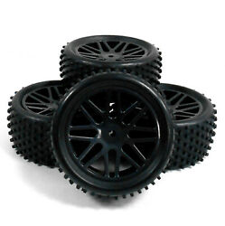 66021 041 1 10 Off Road Front Rear Buggy RC Wheels Pin Tyres 16 Spoke Black x 4 $24.96
