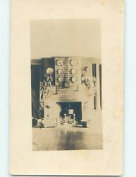 Pre 1949 rppc architecture ANTIQUE PLATES HANGING ON WALL OVER FIREPLACE HM0405 C $2.47