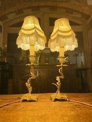 Antique Louis XV Style Bedside Lamps Pair Table Lamps French Ormolu Bronze GBP 260.00