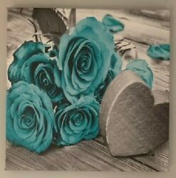 Flowers and Heart Canvas Prints Home Decor Wall Art Turquoise $11.99