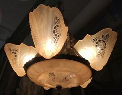 Antique Art Deco Lightolier Chandelier with Consolidated Glass Slip Shades