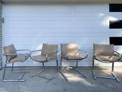 4 Vintage Mid Century Modern Retro Chrome Cantilever Cosco Dining Chairs $650.00