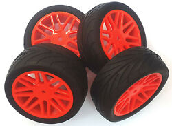 66105 115 1 10 Street Front Rear Buggy RC Wheels Pin Tyres 16 Spoke Red x 4 $34.55