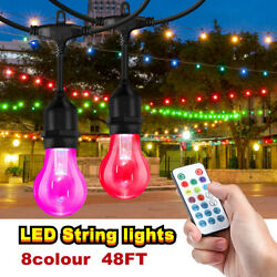 2 pack 48ft String Lights Christmas IP65 Commercial Patio Globe Fairy Bulb Lamp