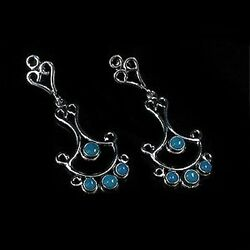 Sterling Silver Natural Turquoise Chandelier Earrings $55.95