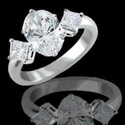 1.80 Carat Oval Cut Diamond Engagement Ring With Accents G VS2 DGS Very Good Cut