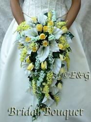 Wedding Bouquets Bridal Flowers silk love ANGIE YELLOW