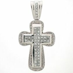 Diamond Cross Pendant 2.94 Ctw -14k White Gold - Invisible and Pave Setting