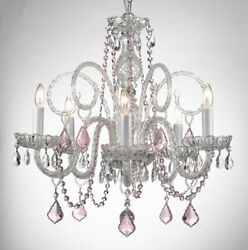 CRYSTAL CHANDELIER CHANDELIERS LIGHTING WITH PINK COLOR CRYSTAL $150.63