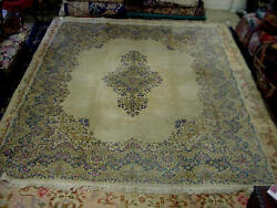 1950 Mid Century Kerman 8'x10' Persian Rug Hand Knotted Very Good Condition