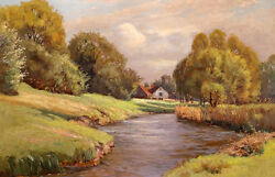 Large art Oil painting sunset mid autumn landscape with house river hand painted $84.99