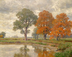 Large art Oil painting huge autumn trees by the pond with cows in landscape $84.99