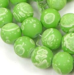 8mm Matte Frosted Neon Rubberized Glass Round Beads -  Green w white dot 16