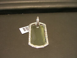 FINE MENS DOGTAG PENDANT WITH DIAMONDS 0.75 CARATS 14 KARAT WHITE GOLD NEW WOW!